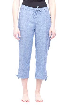 3b8e30650358 Capri pants women - Reliable companion - even at cooler temperatures Missy  Women's Linen Capri pants Blue Chambray S