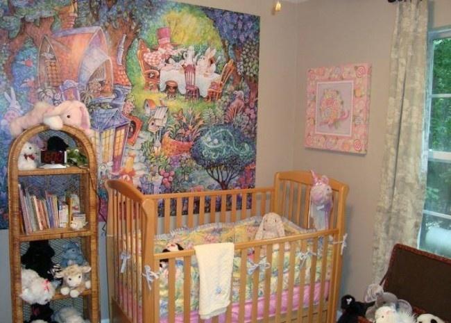 Bedroom, Alice in Wonderland Bedroom Decorations : Nursery Room Alice in Wonderland Mural Wall Art