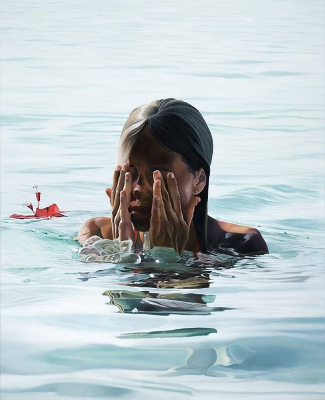 Take A Dip hyper-realistic paintings by Spanish artist Josep Moncada