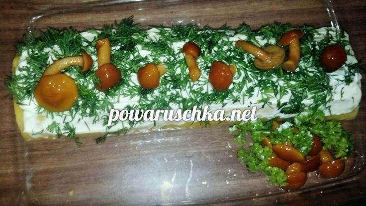 Ингредиенты:  300 г сыра, 200 г куриного филе, 2 ст. л. майонеза, 2 шт плавленного сыра, укроп (зелень), 3 зубчика чеснока, грибы маринованные (опята).  Приготовление:   Сыр на…
