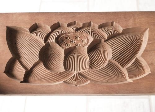Japanese Antique Kashigata Lotus Flower with Cover Hand Carved Wooden Mold | eBay