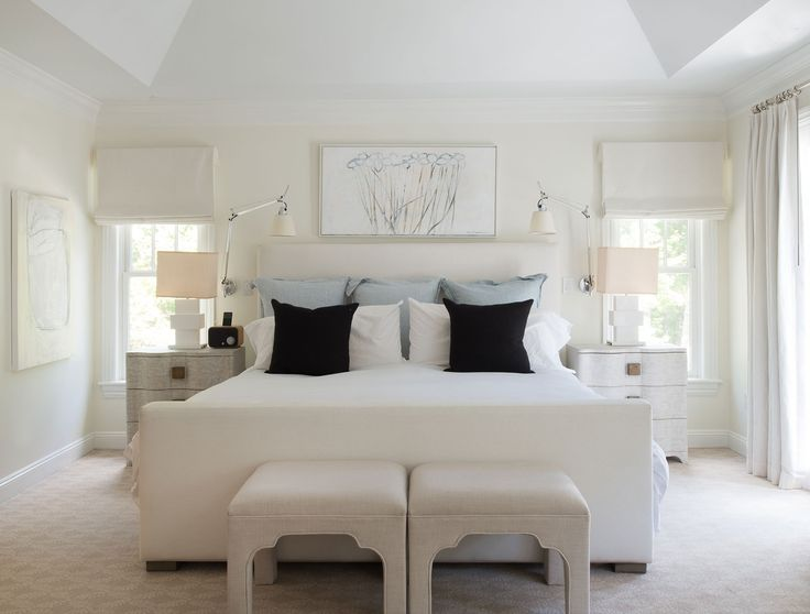 """""""I needed my room to be some what neutral so I can reset at night and wake up with visions of color to start my day,"""" says Rosenthal. The bed was custom-made by D2 Interieurs, the benches were purchased at Dovecote, in Westport, Connecticut, and the nightstands are by Studio A. Rosenthal bought the geometric lamps atBungalow, also in Westport."""