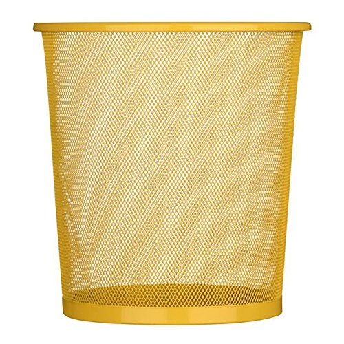 UOOU Mesh Round Wastebasket Recycling Bin, 18 Quart(4.5 Gallon )Capacity, Yellow  Mesh wastebasket offers a sleek industrial look and simple everyday convenience  Made of durable steel wire mesh; reinforced with solid metal base and solid edging along bottom and top rim  Large, round opening and tapered shape make sure trash goes into the can, not around it; wire mesh keeps the wastebasket well-ventilated, preventing the buildup of moisture and smells  Gently flared, cylinder shape wit...