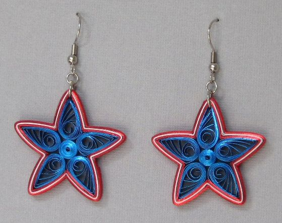 Boucles d'oreilles piquants, Stars and Stripes, bleu blanc rouge