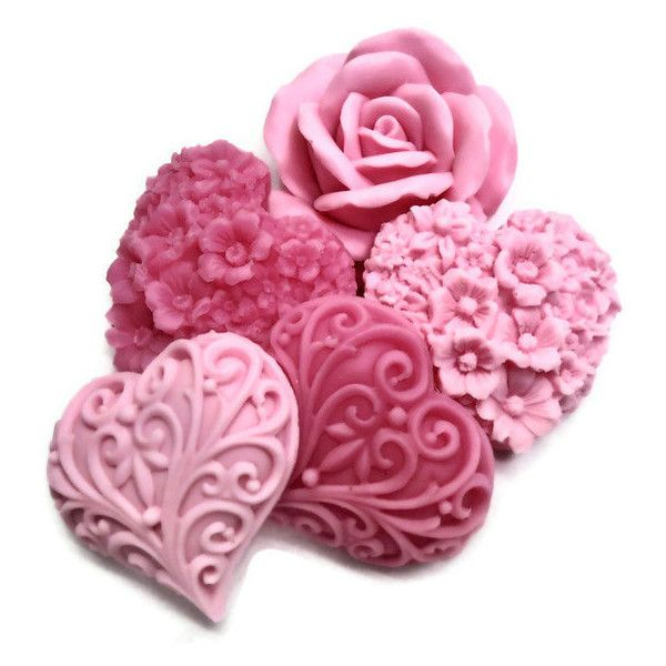 Shades of Pink Soaps - Pink Hearts & Flowers - Gift Set of 8 (105 ARS) ❤ liked on Polyvore featuring fillers, backgrounds, flowers, hearts, pink and effects