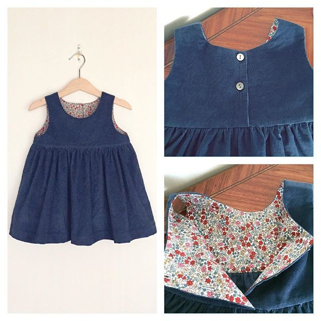 """I made a jumper skirt with corduroy and the lining is Liberty """"Emilia's Flowers"""" size 2y. ☆ ☆  コーデュロイの生地で90cmのジャンパースカートを作りました。 裏地はリバティ「エミリアズ・フラワーズ」です。 今回は後ろ開きで貝ボタンを使いました。"""