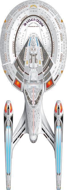 "U.S.S. Enterprise NCC-1701-E - ""Star Trek First Contact"", ""Star Trek Insurrection"" & ""Star Trek Nemesis"" Top View"