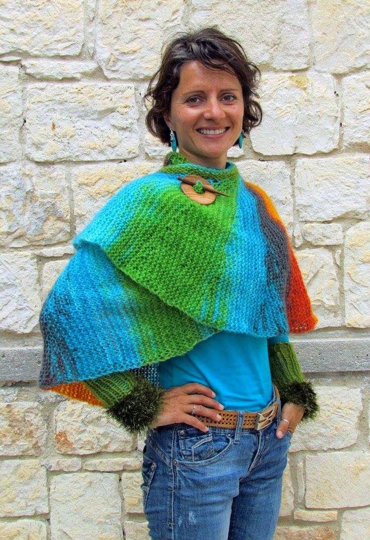 Hand knitted bohemian Rainbow shawl by SimonaStyleByHand on Etsy