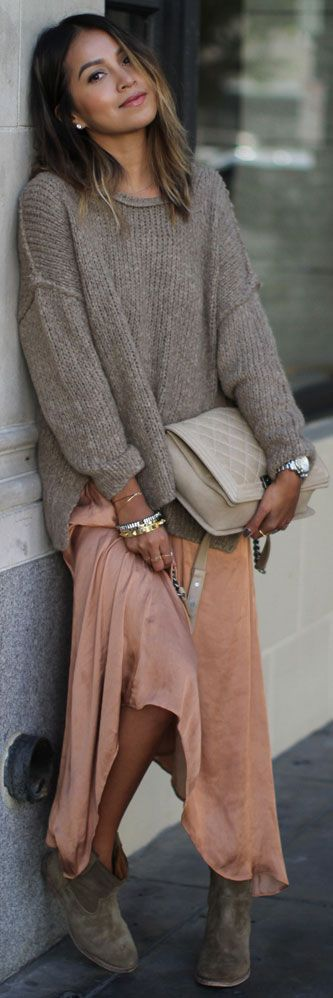 Maxi Skirt + Sweater Outfit + Ankle Boots