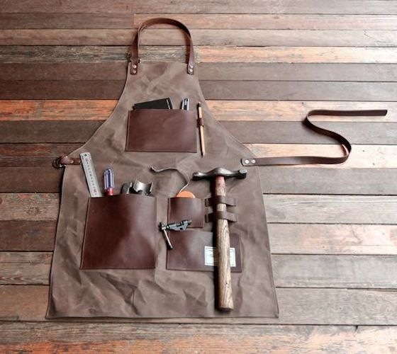 Gentleman's #Apron  Constructed from waxed canvas and genuine #leather!