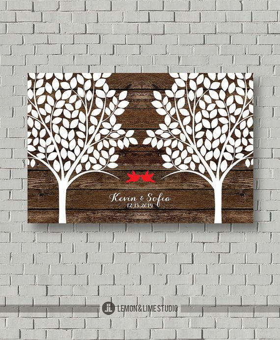 Items similar to Guest Book - Wood Wedding Guest Book 220 Signatures - Wedding Tree Gift - Guest Book Print - Wood Wedding Bridal Shower Gift - Art - Print on Etsy