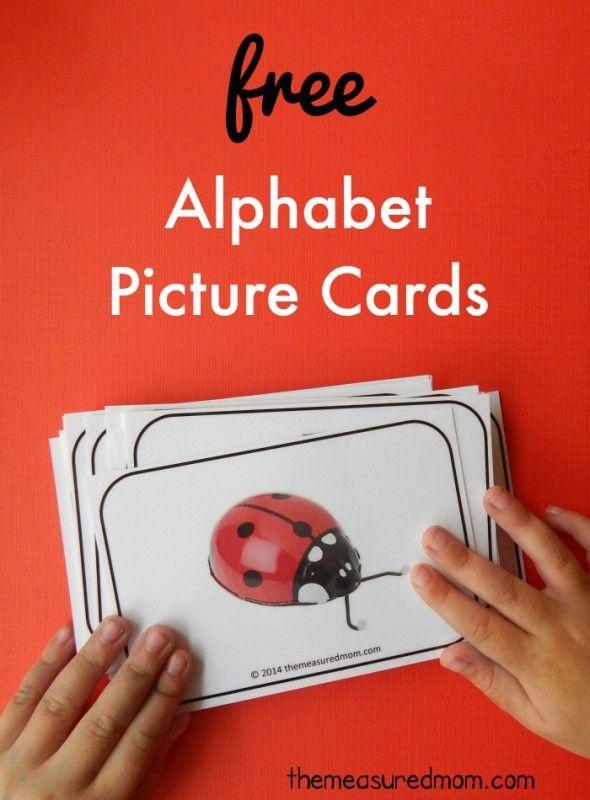 Estas tarjetas gratuitas alfabeto imprimibles son preciosas! Me encantan los colores brillantes ... y que tienen al menos 4 imágenes para cada letra!