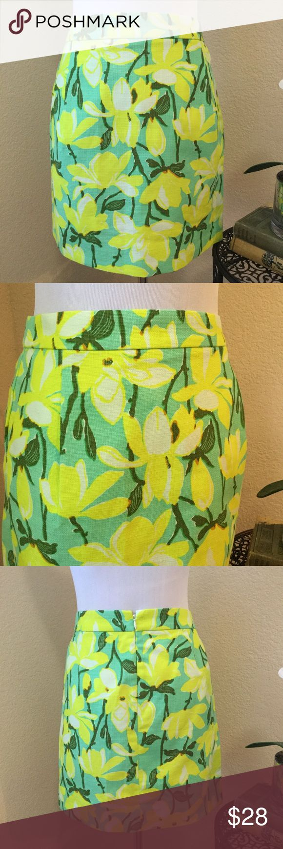"""J CREW Tropical Orchid Print Pencil Skirt Neon yellow, green and turquoise 100% cotton fully lined Floral pencil skirt in an striking orchid pattern. This skirt has a hidden back zipper and the fabric is medium weight and textured. Like new flawless condition. Wear with a white tank top and Jack Rogers. Waist: 15"""". Length: 17"""". J. Crew Skirts Mini"""