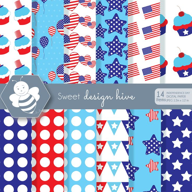 Independence Day 4th of July, DP0024 by Sweetdesignhive on Etsy