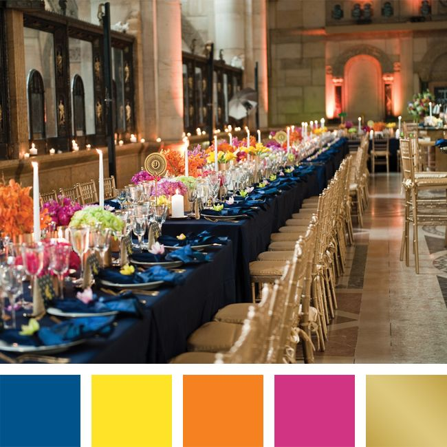 New Wedding Color Combos for 2014 Royal Blue + Lemon + Apricot + Fuchsia + Gold