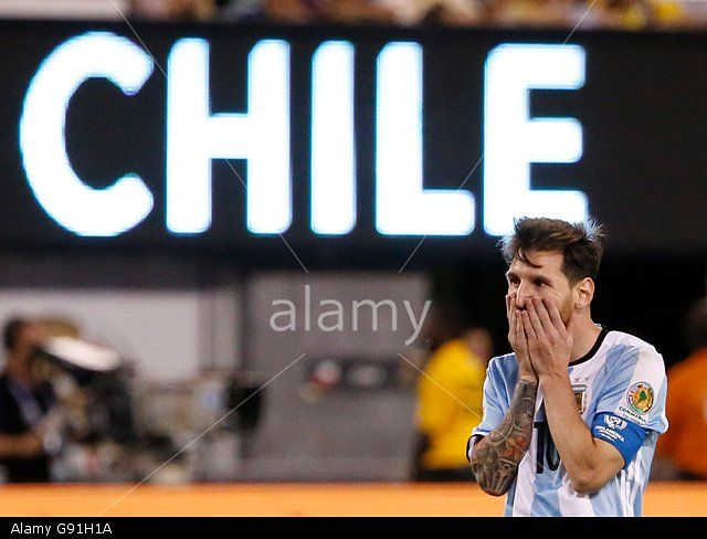 Lionel Messi of Argentina reacts during the Copa America Centenario 2016 Final which was won by Chile on penalties. East Rutherford, New Jersey, USA. (Stock Photo)  © epa european pressphoto agency b.v. / Alamy Stock Photo  http://www.alamy.com  http://www.alamy.com/stock-photo-epa05393721-argentina-midfielder-lionel-messi-reacts-during-extra-108829430.html