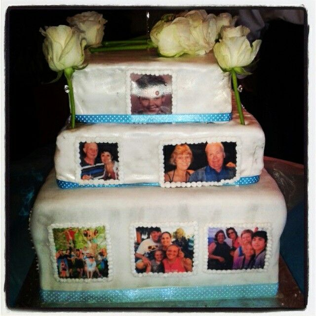Gran's 90th birthday cake! 3 tiered with family photos. Family tree. Side 2.