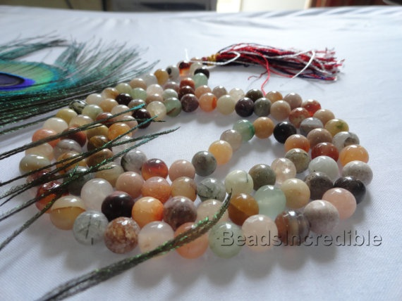 Multicolor Necklace Agate Necklace 8mm Beads by beadsincredible, $24.95