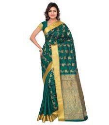 Buy Eid Special Rama Green printed art silk saree with blouse kanchipuram-silk-saree online