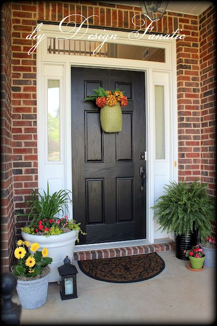 Black front door sidelights white no place like home pinterest front porches ferns and for Black exterior door with sidelights