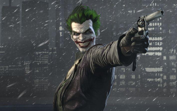 Télécharger fonds d'écran Batman Arkham Origins, supervillain, le Joker, le pistolet