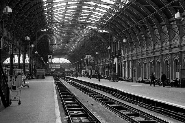 IK Brunel's 1854 masterpiece for the Great Western Railway. Platforms 1 & 2 with the GWR Director's Boardroom window looking out across the trainshed transept.
