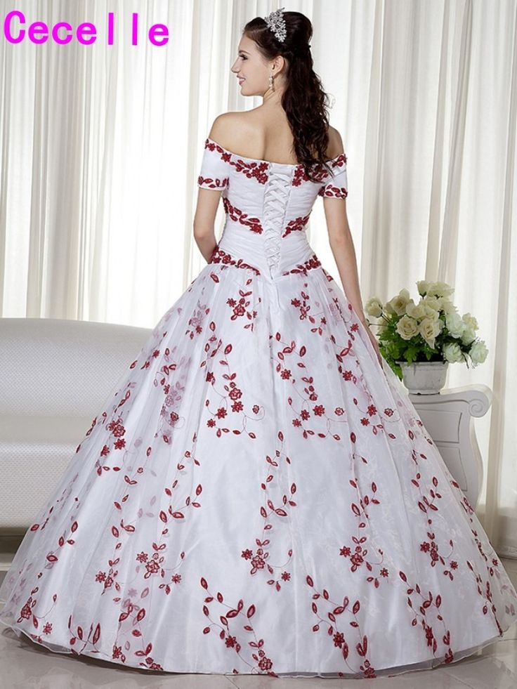 online shop white and dark red two tones ball gown wedding dresses with regard to red and white ball gown wedding dress