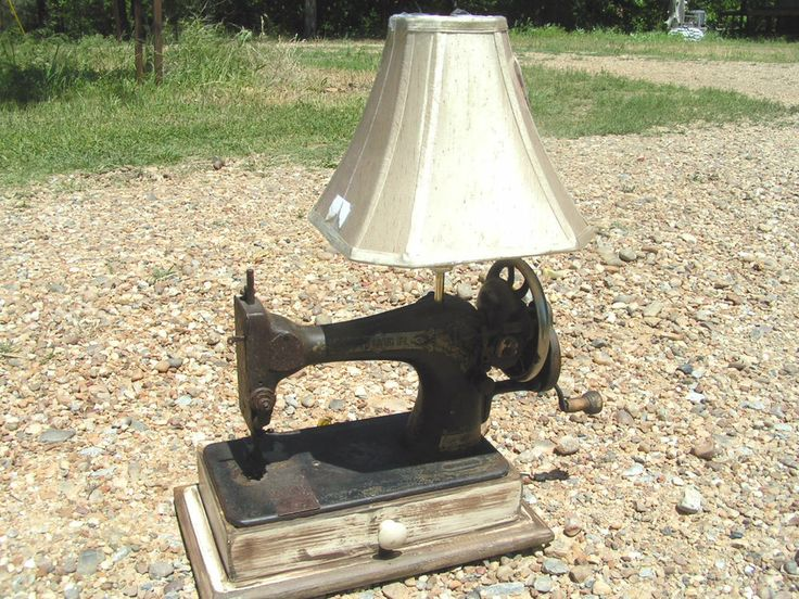 Antique Singer Sewing Machine Table Lamp With Shade