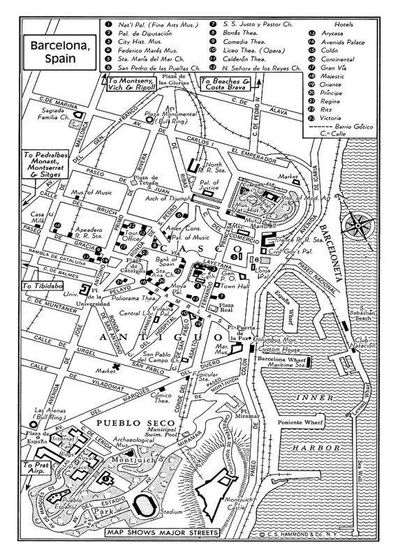 1949 Vintage Map of Downtown Barcelona Spain by seashoreprints, $14.95