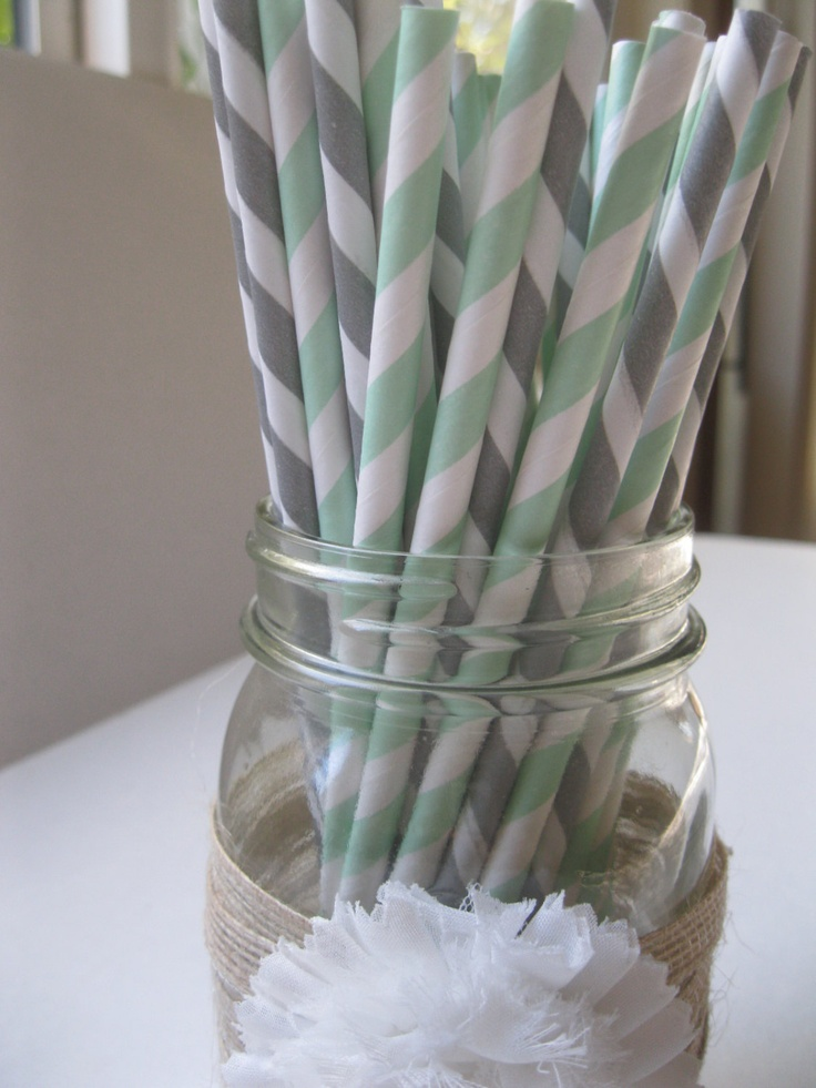 Mixed Mint and Grey white Striped paper straws - mint and grey accents to tie into the bridal shower/party?