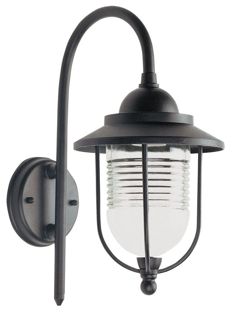 DOMO - Black Powder Coasted Exterior Wall Light With Frosted Dome Glass - IP44 (Globe Not Included)