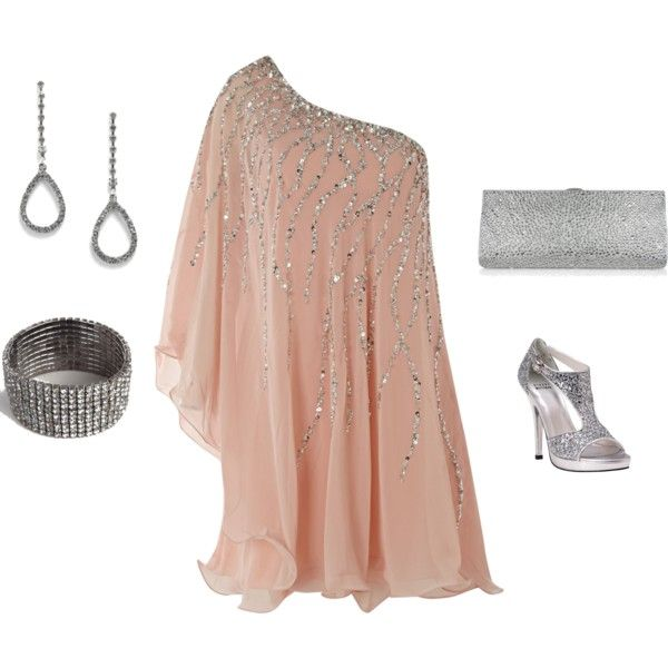"""Blush One Shoulder Cocktail Dress (New Years)"" by ggdesigns on Polyvore"