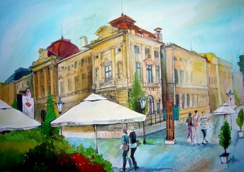 Old Center, Bucharest. Watercolor by Gabriela Calinoiu.  www.picturipeisaje.wordpress.com