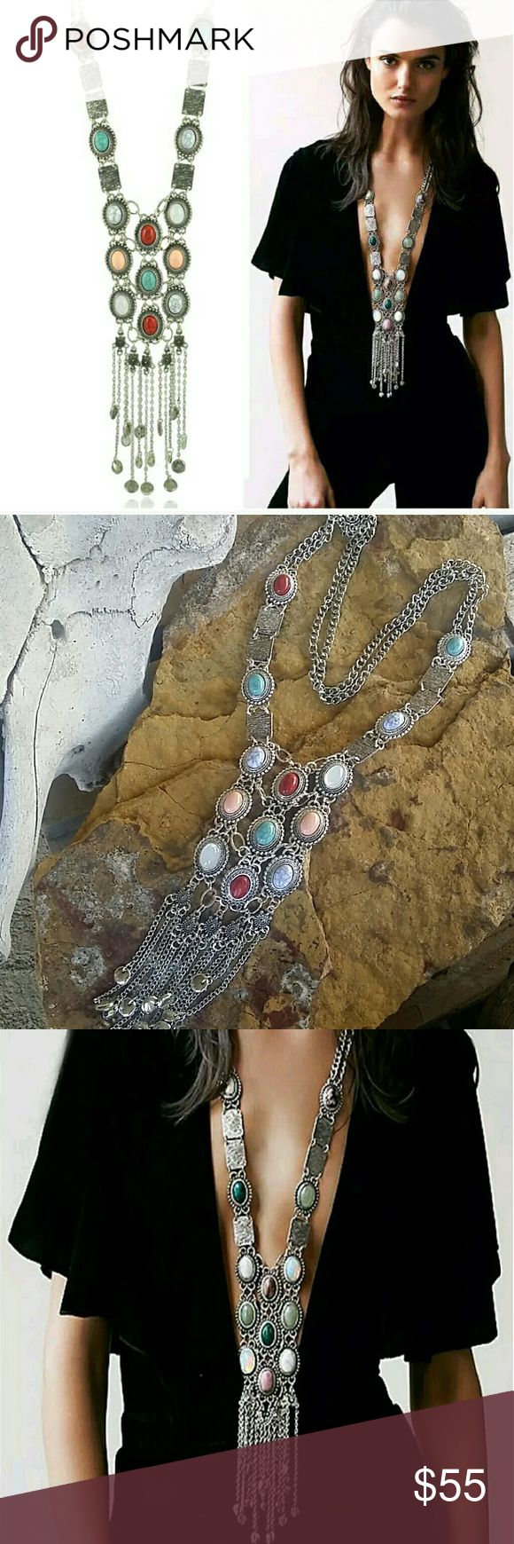 """??Boho Chic Long Necklace Stunning stunning necklace!  Silver tone lacey look bold statement piece. Red, turquoise, white/blue, clear opal, & peach colored faux stones. Long fringe & bead chain dangle finish off this great piece.  No latch, side on & off. 29"""" long drape with addition 8"""" dangle. Another one of my favorites!  ? Price Firm Unless Bundled  ? I Do Not Trade Boutique  Jewelry Necklaces"""