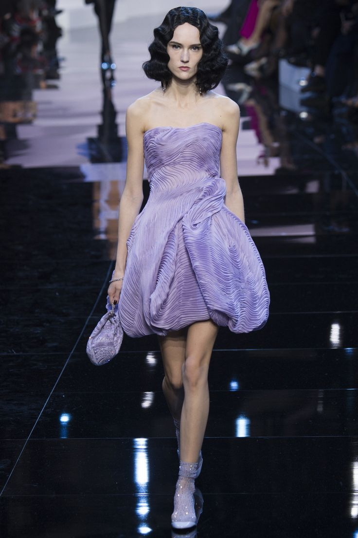 Strapless, Sheer  Lilac Short Pleated Dress by Armani Privé Spring 2016 Couture Fashion Show