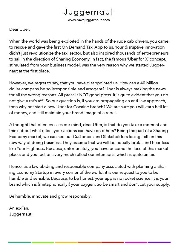 An Open Letter to #Uber!  Our request to the face of #SharingEconomy market, Uber, to be responsible and not stain the #PeerEconomy sector.  Please like and share if you agree. #UberShame.