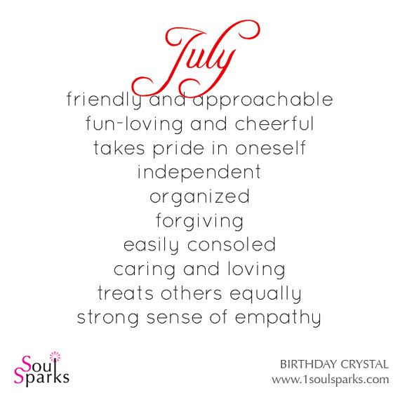 July Birthday - Personality Description for those born in July by SoulSparks