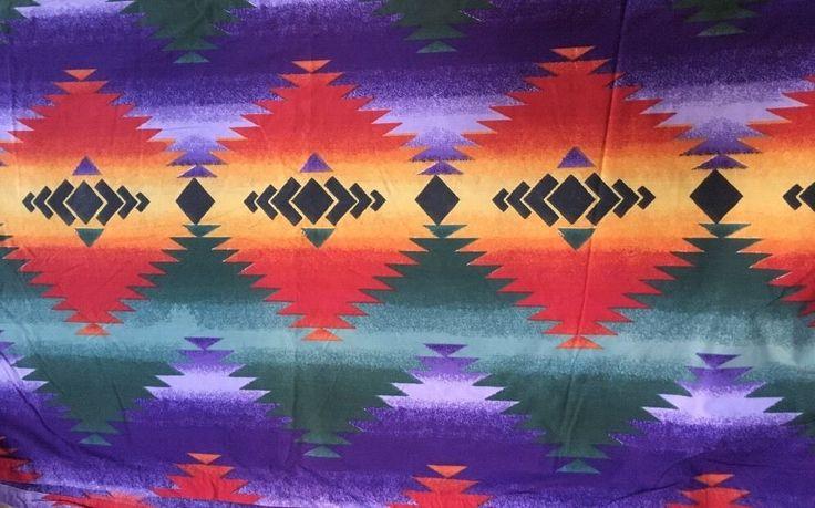 RALPH LAUREN King Canyon Bright Flat Sheet Southwestern Indian 100% Cotton #RalphLauren #Southwestern