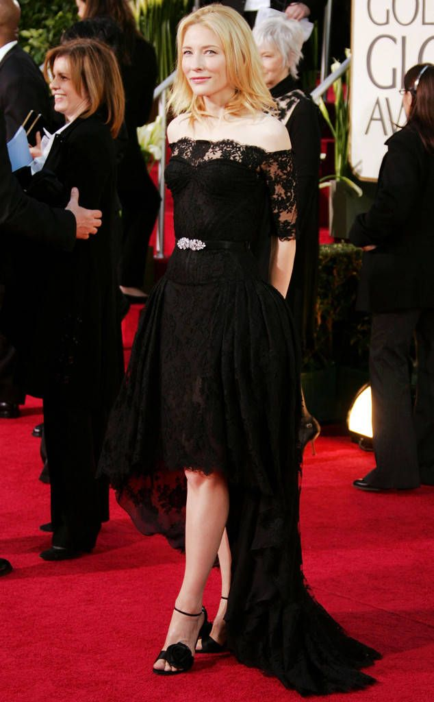 Cate Blanchett, 2007 from Alexander McQueen's Best Red Carpet Looks  Cate Blanchett made a case for all blackat the 64th Annual Golden Globe Awards.