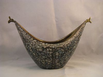 Vintage Brass and Stone Mosaic Kashkul Beggars Bowl | eBay Available for purchase from Eastern Shore Antiques. 1410 US Hwy 98 Suite A  Daphne, Al. 36526