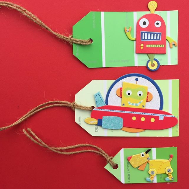 """""""Recycled paint sample Robot tags."""" to an #inlinkz linkup!http://playasugo.blogspot.co.za/2015/09/monsters-and-robots.html"""