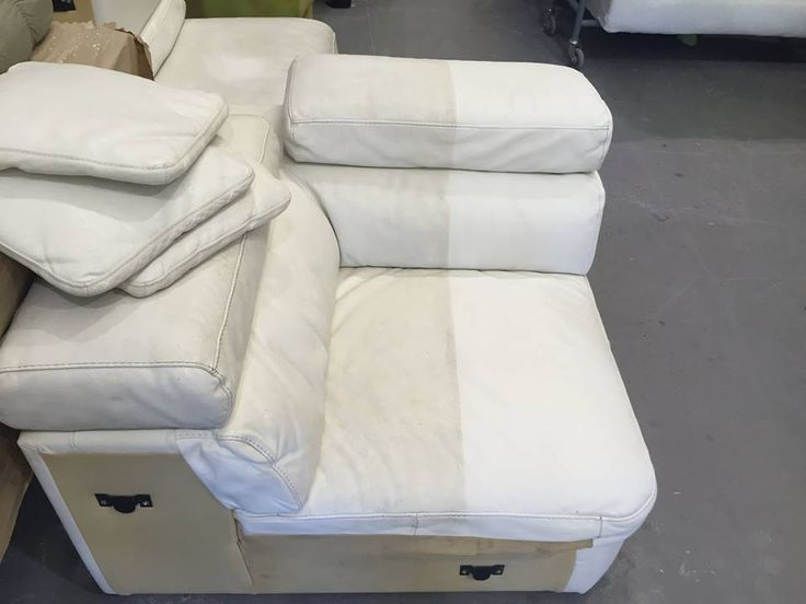 Chaise Lounge Sofa We are in the process of cleaning a white leather sofa look at the results