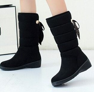 Plush Rivet Bow High-Quality Warm Cozy Winter Snow Boots 3 Colors 6-9