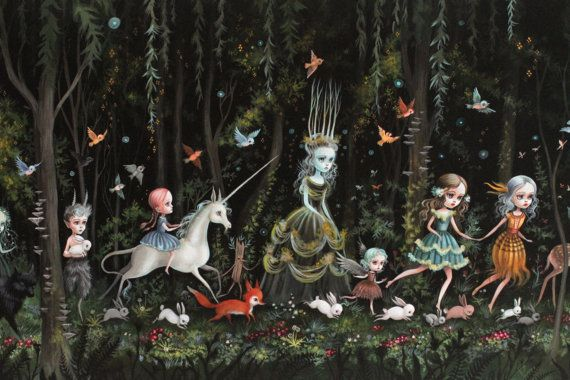 THREE LEFT - The Forest - Limited Edition signed and numbered Pop Surrealism Fine Art Print by Mab Graves -unframed