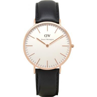 (✅BOUGHT) Daniel Wellington Sheffield Rose Black Leather Watch ($229)