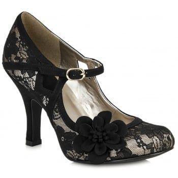 Ruby Shoo have created the ideal day to night shoe - Elsy is a cute and sassy high heeled, bar shoe adorned with gorgeous lace overlay and black floral corsage. The slimline Mary Jane strap across the foot allows for a secure and comfortable fit with an adjustable buckle fastening. www.marshallshoes.co.uk/womens-c2/ruby-shoo-womens-elsy-black-lace-court-shoes-p4044