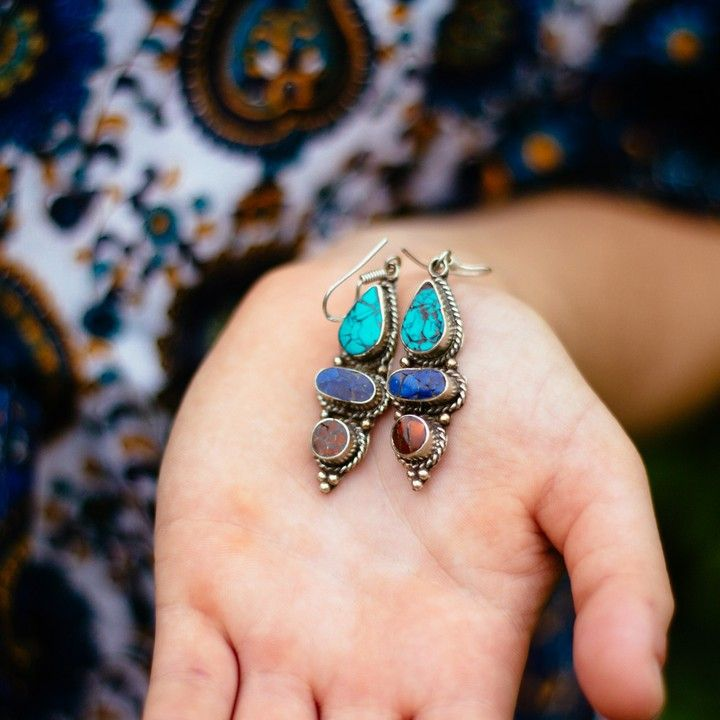 Nepalese Silver Turquoise, Lapis, and Coral Earrings from Trouvaille Boutique