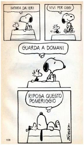 istruzioni per la #vita #Snoopy... Learn from yesterday, live for today, look to tomorrow, have a snooze this afternoon