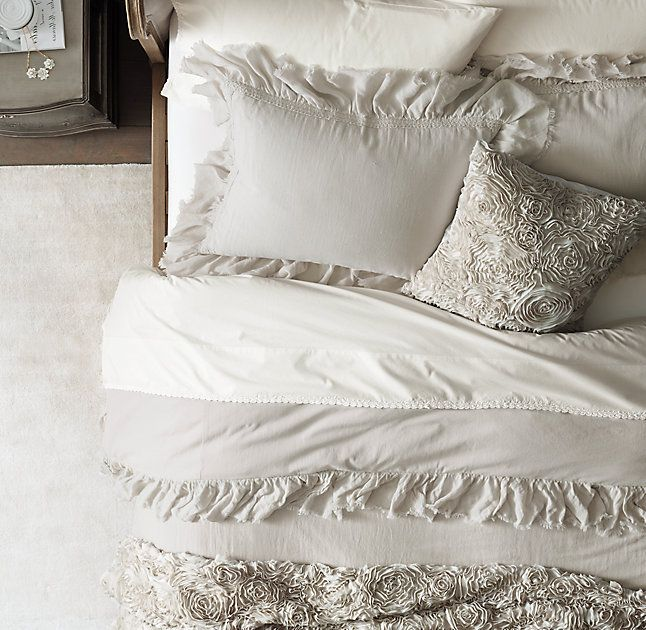 RH TEEN's Chiffon Floral Sham:Bed of roses. Billowy swirls of raw-edged chiffon blossoms drift across our bedding. For a sumptuous feel and airy weight, they're stitched over a light layer of pure cotton voile.