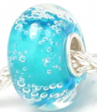 European Turquoise Hawaii Ocean with Bubble Water Park Murano Glass Bead Charm Fits Pandora Biagi Chilia Trollbeads Bracelet